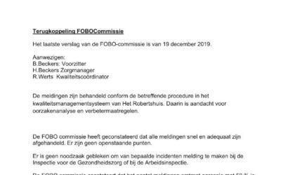 Terugkoppeling FOBO commissie