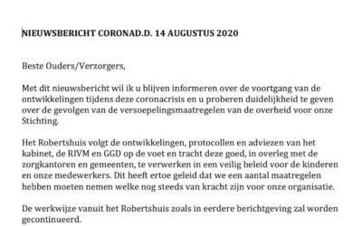 Nieuwsbericht Corona 14 aug 2020